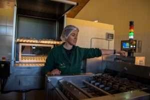 La selezione e l'impacchettamento delle uova biologiche