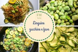 Linguine con fave, zucchine, pomodorini e pancetta